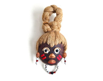 Vintage wall head / ethnic mask - wood and rope - 1960s