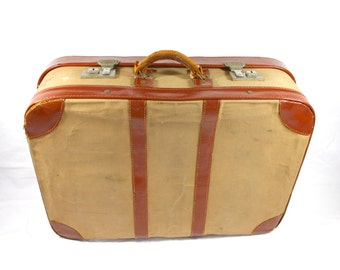 Old Canvas Cheney Suitcase Luggage Cotton Gingham Fabric Decorative Suitcase Prop