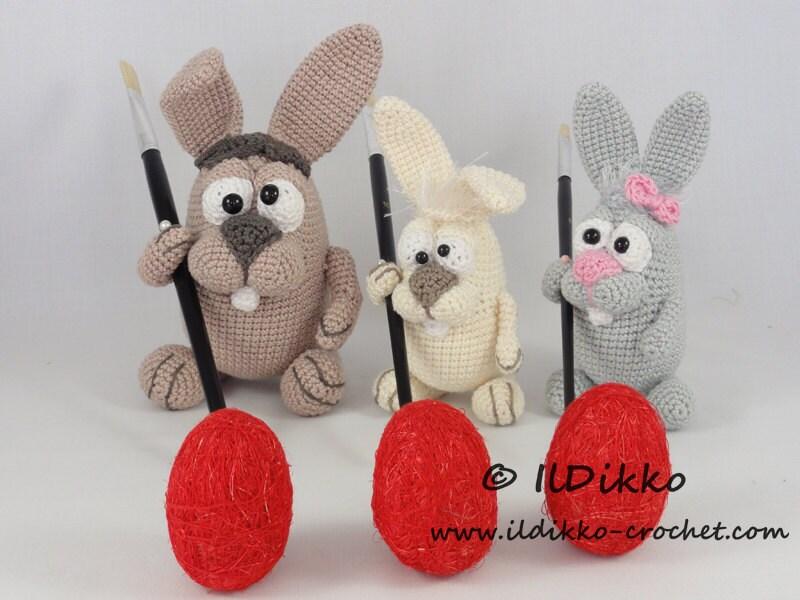 Etsy Amigurumi Bunny : Amigurumi Crochet Pattern Easter Bunnies