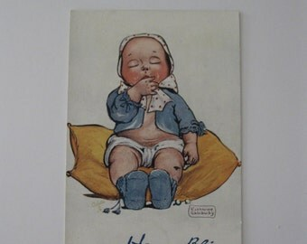 K. Gassaway - Artist Signed Post Card - Happy Bliss - Unused - 1910s