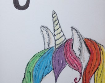 U is for Unicorn - Pen, Pencil and Pastel Nursery Sketch