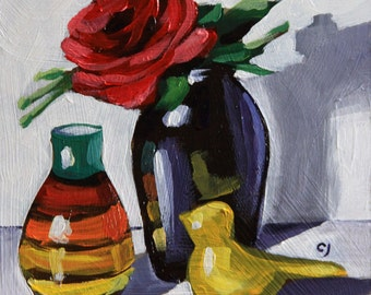 """Floral painting 6x6"""" original small Still life painting acrylic on panel red orange yellow green impressionist fine art by Cristina Jacó"""