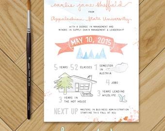 Printable Custom Graduation Announcement / Watercolor Design