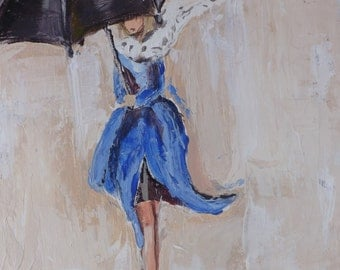 Acrylic Painting,Delightful Limited edition Print. Lady in rain with umbrella, Gift for birthday, wedding, anniversary, friend (Juliette)