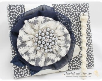 Wedding Lace Guest Book Pen Set Custom Bridal Flower Brooch Guest Books in Ivory and Navy Blue with a Handmade Flower, Brooch and Leaves