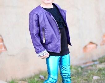 Dreaming Kids Turquoise Metallic Leggings