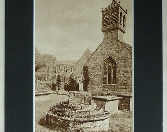 Vintage Architectural Print of St Andrew's Church in Brympton Beautiful medieval architecture d'Evercey family, sepia Christian photography