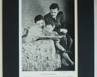 1950s Vintage Print of a Family Reading a Picture Book Together Suburban social history, middle class family decor - Vintage Bookworm Gift