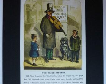 Vintage Print of a Victorian Violin Player Victorian Decor; The Blind Fiddler, John Groggins, Available Framed, Violinist Art, Fiddler Gift
