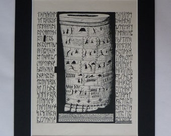 1902 Antique Rudyard Kipling Print, Just So Stories Art, How the First Letter was Written, Available Framed, Prehistoric Art African Picture