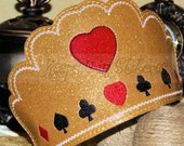 Alice in Wonderland Fairy-Tale QUEEN of Hearts Inspired CROWN-LARGE Size-Fits Teens/Adults Gold Smooth Glitter Vinyl Satin Headband-Cosplay