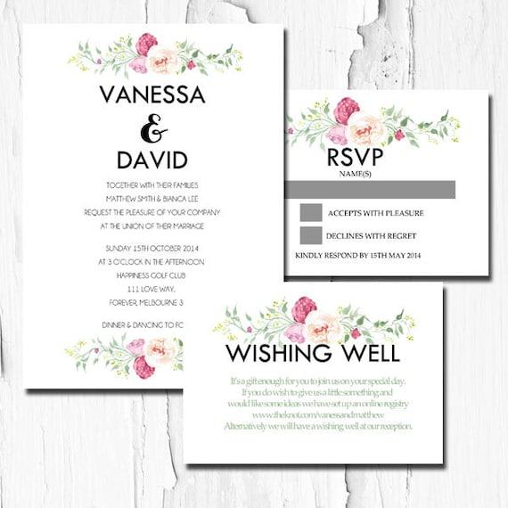 Wedding Invitation DIY Printable Invitation Wishing Well