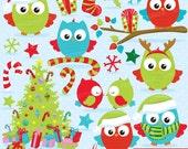 80% 0FF SALE Christmas owls clipart commercial use, christmas birds, owl vector graphics, digital clip art, digital images  - CL758
