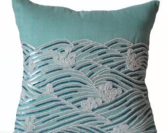 Decorative Pillow Cover, Teal Throw Pillows, Sequin Beads Accent Pillow, Silk Pillow Cases, Oceanic Pillow, Spring Summer Decor, 18x18, Gift