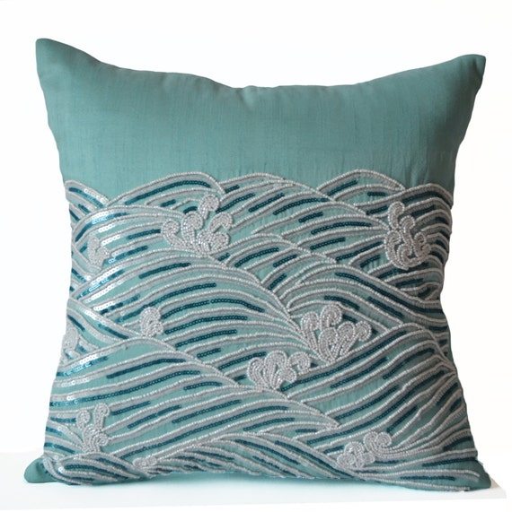 Decorative Pillow Cover Teal Throw Pillows Sequin Beads
