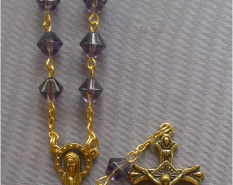 June - Alexandrite 8mm Glass One Decade Auto Rosary - Silver or Gold