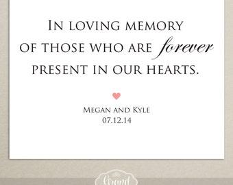 In Loving Memory Printable Sign for Wedding - Memory Sign - In Memoriam - Wedding Reception Sign - DIY - Personalized