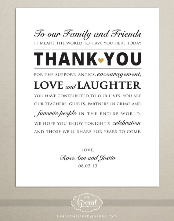 DIGITAL FILE Personalized Wedding Reception Thank You Card – What to Write Wedding Thank You Cards