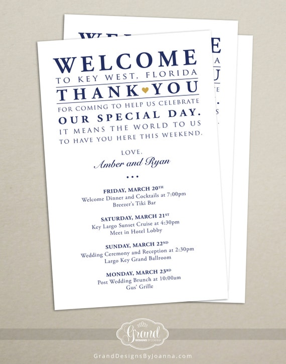 Welcome To Our Wedding Weekend Gift Bags: Itinerary Cards For Wedding Hotel Welcome Bag By