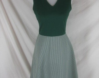 1960s 1970s Green Hounds Tooth Vintage Womens Party Dress Set W 26