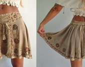 Genie Embroidered Silk Thread Skirt with Fringe.