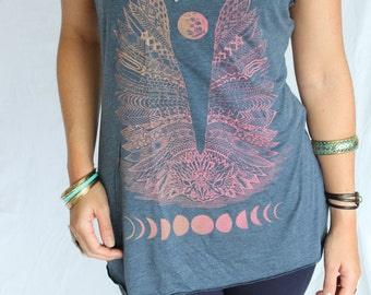 Moon Phase Owl Top - fiery screenprint on 11 available American Apparel Womens tank top colors. Sacred geometry. Intricate wings top.