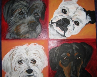 Custom Multiple Pet Portrait/ Pet Portraits from your photograph. Acrylic on18x18 canvas Dog Painting/Pet Painting
