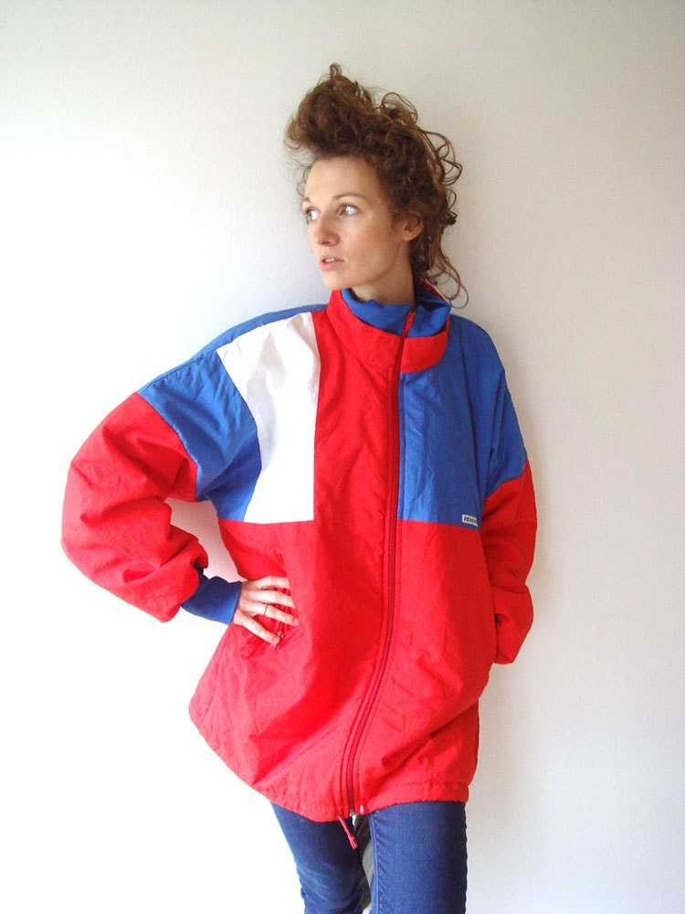 Bomber jacket red blue oversize jacket unisex by GrandpasParty