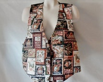 Free Shipping Sz 10 12 Christmas Tapestry Vest - Xmas Holiday Festive - Brocade Needlepoint - Ugly Tacky - Women's Unisex