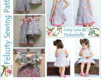 Sewing Pattern Bundle Deal! Girls dress & romper patterns Big Sister and Little Sister dress and romper, two in one bundle, huge discount