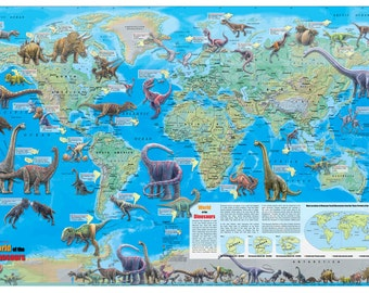 "World of the Dinosaurs Wall Map Poster 36""x24"" Multi-Color Rolled Paper or Laminated - 2016"