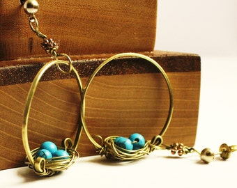 Bird nest earrings, brass hammered hoop earrings, blue birds nest earring,wire wrap jewelry,handmade beaded jewelry, blue earrings