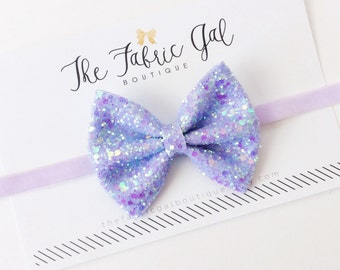 Lavender Glitter Bow Headband- glitter fabric bow- sparkle- bedazzled-sale-easter