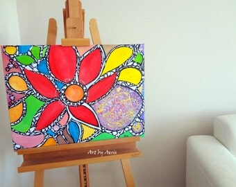 Abstract Red Mosaic Flowers Painting, Original Acrylic Painting by Aeris Osborne on Stretched Canvas, Gold, Yellow, Green, Modern Wall Art