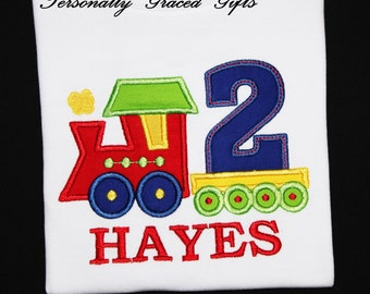 Birthday Train Embroidered Personalized Appliqued Shirt or Bodysuit -1st 2nd 3rd 4th 5th-You Pick the colors CHOO CHOO I'm TWO: Train Shirt