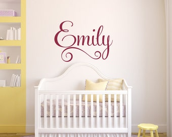 Girls Wall Decal - Girls Name Wall Decal - Swirly Name Wall Decal - Nursery Wall Decal - Personalized Name Decal - Vinyl Wall Decal