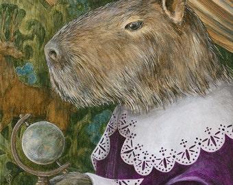 "Capybara ""Barnabas Fritz di Bara"" Renaissance animal portrait fine art print"