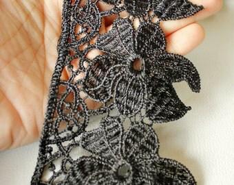 Black Embroidery Thread Flower Cotton, Lace Trim 78 mm Wide - 041203L26