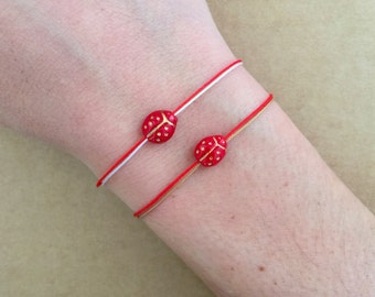 Dainty Lucky Ladybird Ladybug Glass Bead Charm Spring Friendship Adjustable Bracelet - Macrame Bracelet
