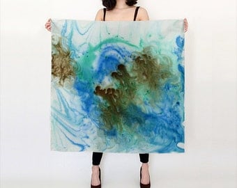 Sea Garden Luxurious Silk Scarf, large and versatile, printed with original art - two sizes available