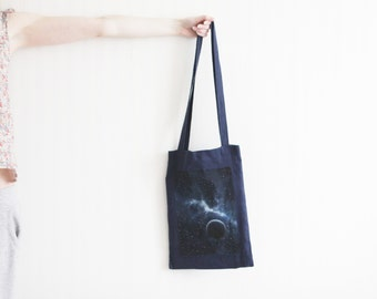Hand painted bag Tote blue bag Shopping bag Painted tote bag Eco friendly bag Linen shopper Galaxy cosmic bag Beach canvas bag OOAK bag