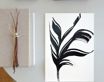 A3 Original Abstract Ink drawing-black and white original abstract /art/ink/modern/feather/nature/plant/minimalist/art by Cristina Ripper
