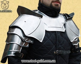 "Larp, fantasy, medieval, costume, steel armour, shoulders: Pauldrons ""Avanger"" with Blade Breakers"