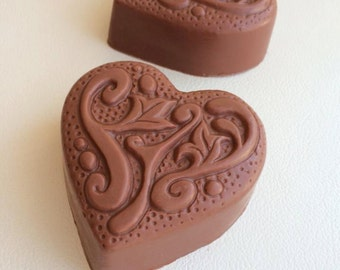 Chocolate Lovers- Beautiful Ornate Heart-Glycerin Soap-4.5oz