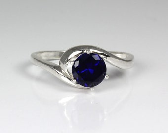 Sterling Silver Blue Sapphire Ring / Sapphire Silver Ring