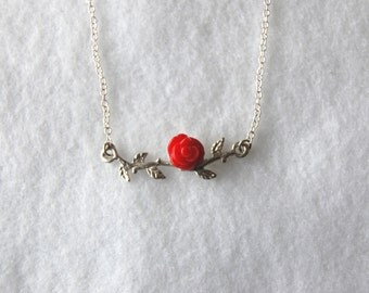 Sterling Silver Rose Branch Necklace // Red Bamboo Coral//Handmade//Ladies//Flower//Gift
