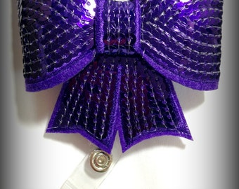 Dark Purple Sequin Bow Badge Reel-Id holder- Retractable Badge Holder