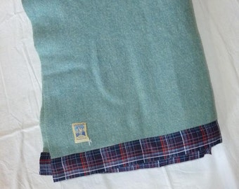 Vintage Kenwood Arondac Blue Wool Blanket Heather Blue Wool 1950's 1960's Bed Blanket