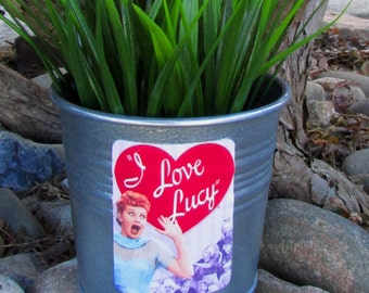 I LOVE LUCY tv show, galvanized metal silver planter pot, Lucille Ball, Desi Arnaz, funny redhead, oh Lucy I'm home