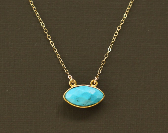 Turquoise  Necklace - Marquise Cut Magnesite Necklace - 14K Gold Filled Chain